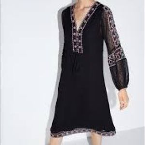 ZARA embroidered dotted mesh dress